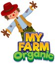 Font design for word my farm with happy scarecrow Royalty Free Stock Photo