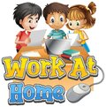 Font design for work from home with three kids doing homework Royalty Free Stock Photo