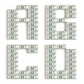 Font made of dollar packs isolated on white d rendered Royalty Free Stock Photos