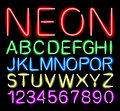 Font neon light alphabet numbers in format Stock Photo