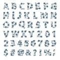 Font space alphabet typeface script with minimal design typographic modern graphic vector illustration.