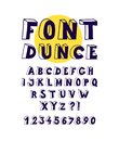 Font with volumetric linear letters. Vector. Letters for inscriptions. English alphabet, latin letters and numbers. Poster.