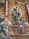 Fontaine saint michel saint michael fountain or depicts st s triumph over the devil Royalty Free Stock Photos