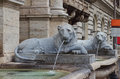 The fontana dell acqua felice in rome also called fountain of moses detail of lions Royalty Free Stock Photography