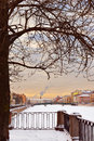 Fontanka River Embankment winter evening Stock Image