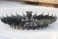 Fontein in het park in de winter Stock Foto's