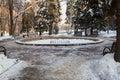 Fontein in het park in de winter Royalty-vrije Stock Fotografie