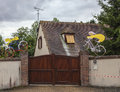 Fontenay sur eure france july entrance household small village france funny decorated specific mascot cyclists one day passing Royalty Free Stock Photography