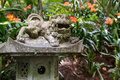 Foo Dog sculpture in Monte Palace Tropical Garden. Funchal, Madeira Island, Portugal Royalty Free Stock Photo