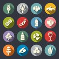 Food allergens circle flat vector icons Royalty Free Stock Photo