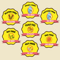 Food allergy badges vintage style Stock Image