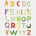 Food alphabet made of vegetables and fruits