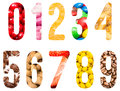 Food Alphabet Numbers Isolated Royalty Free Stock Photo
