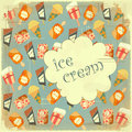 Food background - Ice Cream Vintage card Stock Image