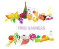 Food banners set cartoon design Stock Photos