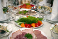 Food at banquet table Stock Photography