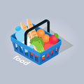 Food in Basket From Grocery Store Illustration