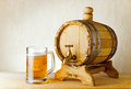 Food beer and barrel on the wood table Royalty Free Stock Image
