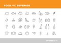 Food and beverage icons retail store detailed vector design Stock Images