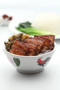 Food a bowl of chinese roast pork with vegetable Royalty Free Stock Images