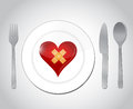 Food for a broken heart concept illustration design over white Stock Image