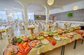 Food buffet platters and dishes of set up for a large catered dinner or lunch Royalty Free Stock Photography
