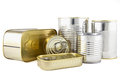 Food canned in metal cans Royalty Free Stock Photos