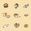 Food chinese brush icon set Royalty Free Stock Image