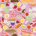 Food choice seamless pattern eps illustration of many foods can with love and doddle lines to express difficult to select Royalty Free Stock Photo