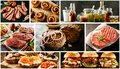 Food collage with barbecued meats and tapas Royalty Free Stock Photo