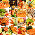 Food collage gourmet restaurant fish and seafood background Royalty Free Stock Photos