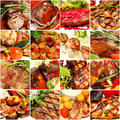 Food collage gourmet restaurant meat set carte background Stock Photography