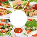 Food collection collage menu eating drinks eat meal meals restau Royalty Free Stock Photo