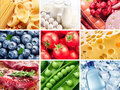 Food collection different vegetables fruits and products gathered in Royalty Free Stock Photos