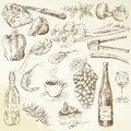 Food collection drawing ingredients hand drawn illustration Royalty Free Stock Image