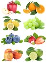 Food collection fruits apple orange berries blueberries apples oranges fresh fruit isolated on white Royalty Free Stock Photo