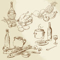 Food collection hand drawn illustration Royalty Free Stock Images