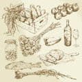 Food collection hand drawn set Royalty Free Stock Image