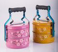 Food Container Tiffin or food carrier on background. Royalty Free Stock Photo