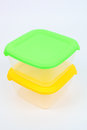 Food containers bright color closeup Royalty Free Stock Image