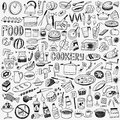 Food cookery doodles Royalty Free Stock Photo