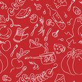 Food cookery seamless pattern in red Stock Photography
