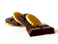 Food cookies and chocolate bar made ladder Stock Images