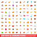100 food and cooking icons set, cartoon style
