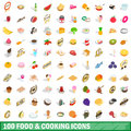 100 food and cooking icons set, isometric 3d style