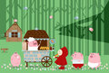 Food court little pigs illustration of fairy tale a red riding hood comes to the in the forest for lunch with Royalty Free Stock Photo