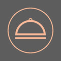 Food cover circular line icon. Cloche round colorful sign. Flat style vector symbol.