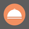 Food cover flat icon. Round colorful button, cloche circular vector sign with shadow effect.