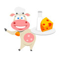 Food cow illustration of chef on white background Stock Images