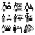 Food culinary jobs occupations careers a set of pictograms showing the professions of people in and industry Royalty Free Stock Image